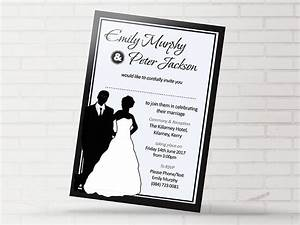 black white bridal silhouette now and forever With black and white silhouette wedding invitations