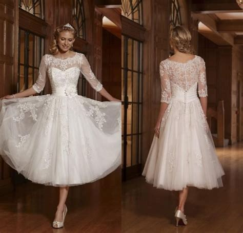 Informal Wedding Dresses 2016 Vintage Tea Length Lace