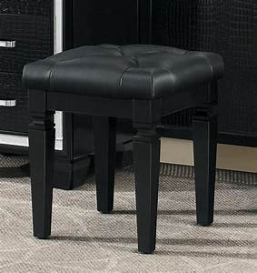 Wooden, Vanity, Stool, With, Faux, Leather, Tufted, Seat, Black, With, Images