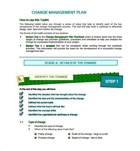 sample change management plan templates