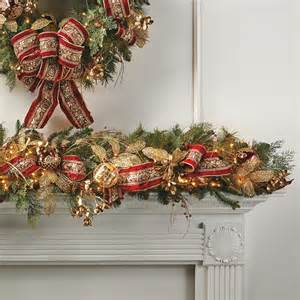 plaza decorated pre lit christmas garland frontgate christmas decor traditional holiday