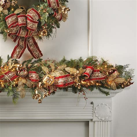pre lit decorated christmas garland plaza decorated pre lit garland frontgate decor traditional