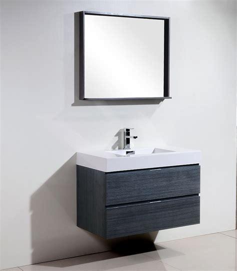 bliss 36quot high gloss gray oak wall mount vanity