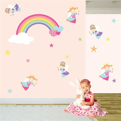 childrens wall decals princess rainbow nursery wall stickers