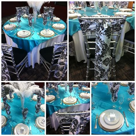party decorations   banquet  turquoise black