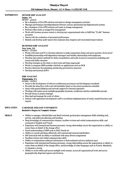 erp analyst resume samples velvet jobs