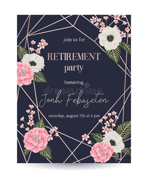 Retirement Party Invitation Design Template With Rose