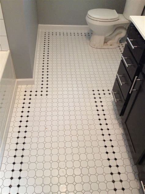 retro inspired octagon  dot bathroom floor tile