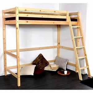 Lit Maison Bois : lit mezzanine pour chambre ado en bois sur ~ Premium-room.com Idées de Décoration