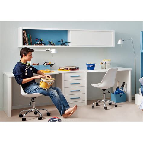 rangement bureau papier bureau pour 2 enfants avec caisson et étagère asoral