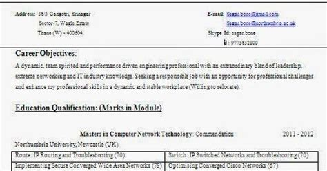 Resume Format For Ccna Certified Fresher by Cisco Certified Resume Format