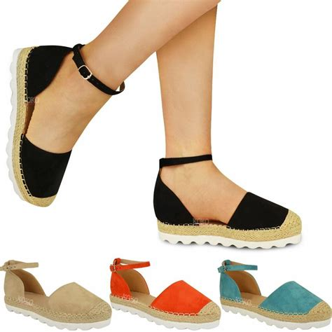 womens ladies ankle strap flat sandals moccasins