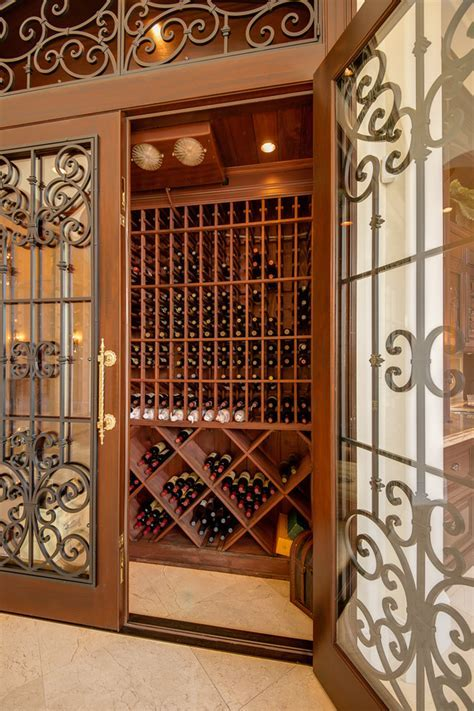 Wine room doors wine cellar traditional with tile floor