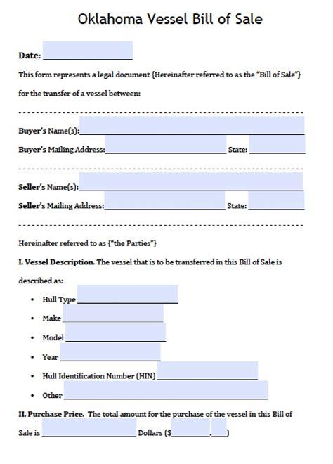 oklahoma boat bill  sale form  word