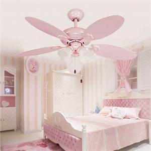 Cute pink girls ceiling fan lights european style modern