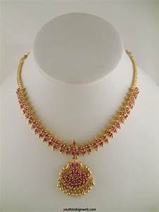 1 Gram Gold Ruby Necklace Design ~ South India Jewels