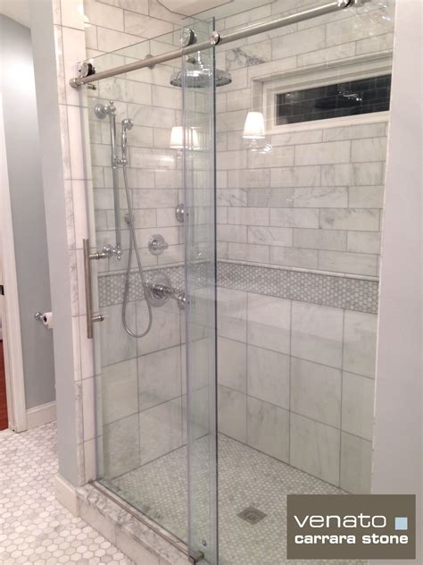 12 Awesome Marble In Shower Design Ideas by Subway Tiles In Attic Bathroom Carrara Venato 4 215 12