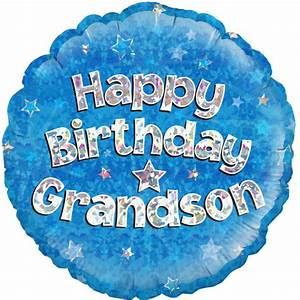 18 Happy Birthday Grandson round Foil Balloon (1) 18 Happy