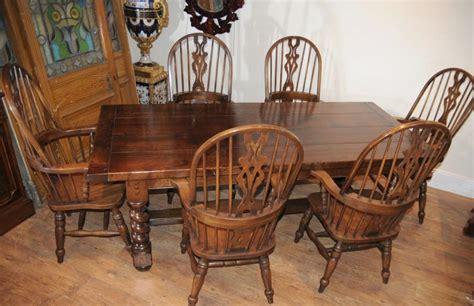 set de cuisine farmhouse refectory table set arm chairs kitchen