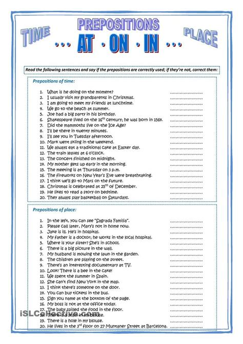 prepositions  time place    esl worksheets