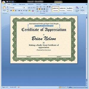 certificate of appreciation template in word With microsoft office online templates certificate