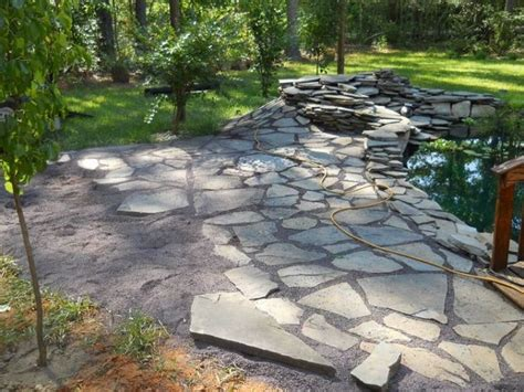 flagstone patio with stonedust