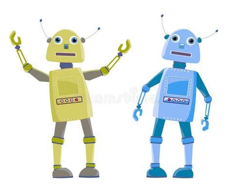 Two Cartoon Robot Stock Vector Image Of Welcome, Funny