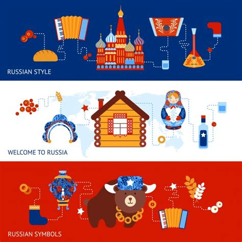 Russia Travel Style Symbols Banner Set With Traditional