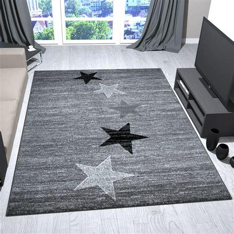teppich schwarz weiss modern teppich modern design grau schwarz wei 223 kurzflor sternenmuster jugendstil trend ebay