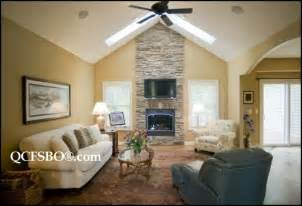 Stone Fireplace with Vaulted Ceiling