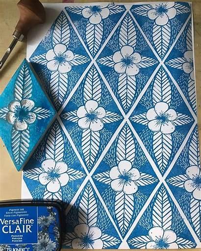 Block Printing Pattern Linoleum Fabric Stamp Create