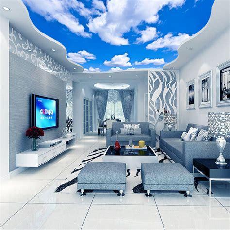 wallpaper blue sky white clouds murals   living