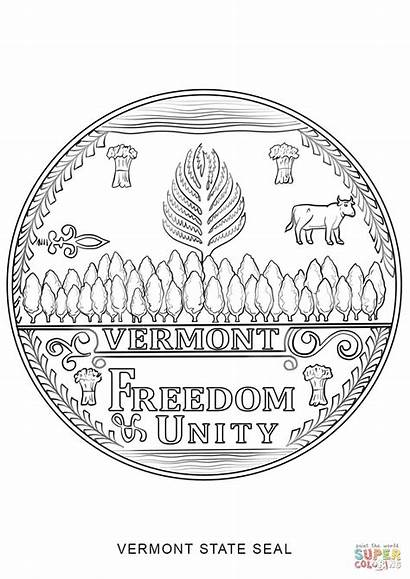 Seal Vermont Coloring State Pages Printable York