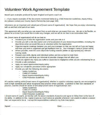 work agreement template   word  documents