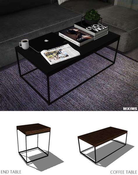 Industrial Coffee Table And End Table At Maximss Via Sims 4