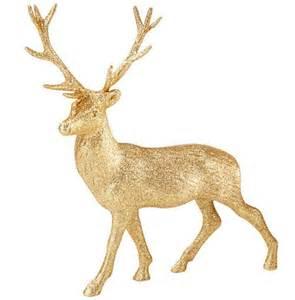 gold glitter reindeer ornament 23cm