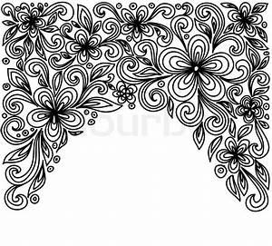 Verspielter Floraler Design Stil : schwarze und wei e spitzen blumen und bl tter auf wei em floral design element im retro stil ~ Watch28wear.com Haus und Dekorationen