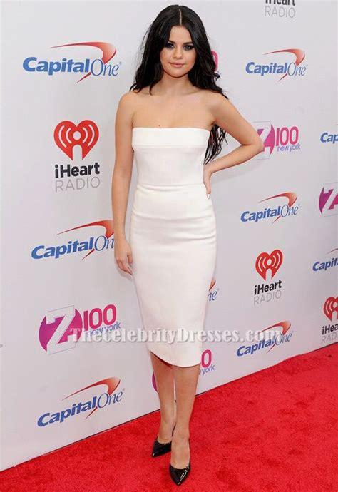 Selena Gomez White Cocktail Dress Z100's Jingle Ball 2015 ...