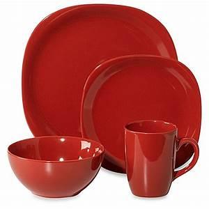 Thomson Pottery Quadro 16-Piece Dinnerware Set in Red