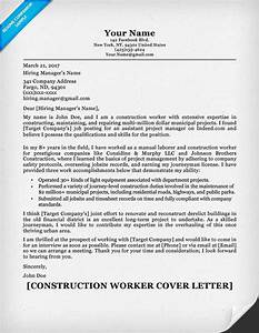 Construction cover letter sample resume companion for How to write a cover letter for construction job