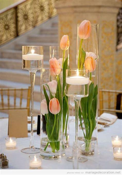 d 233 co mariage printemps 2016 centre de table aves des tulipes couleur p 234 che wedding mariage