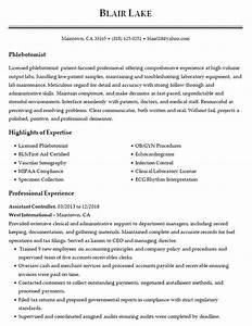 Example Medical Resume Phlebotomist Resume Example Medical Laboratory