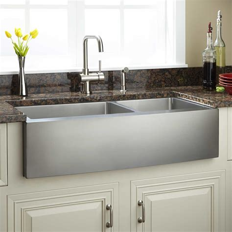 42 quot optimum 60 40 offset bowl stainless steel farmhouse sink curved apron kitchen