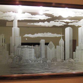etched sandblasted creative mirror shower