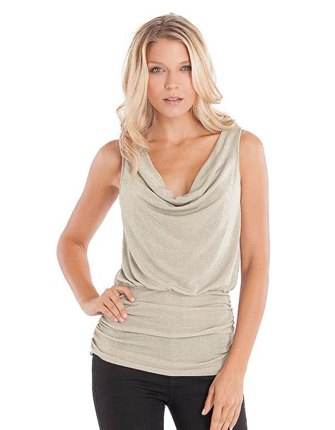 tie neck blouse guess shimmering cowl neck tank top in metallic lyst