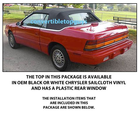 Chrysler Lebaron Convertible Top Do It Yourself Package