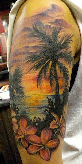 landscape beach palm trees frangipani sunset