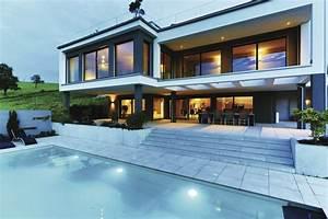 Moderne Häuser Mit Pool : moderne bauhaus villa weberhaus fertighaus ~ Markanthonyermac.com Haus und Dekorationen
