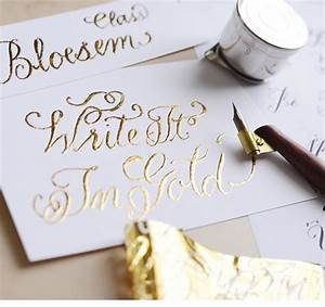 bloesem class alert gold foiling calligraphy for With calligraphy wedding invitations singapore