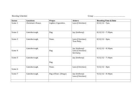 shooting schedule template shooting schedule template